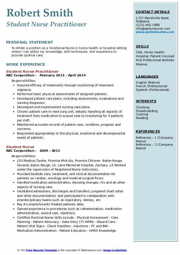 Student Nurse Practitioner Resume Example