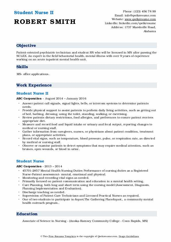 Student Nurse Resume Samples | QwikResume