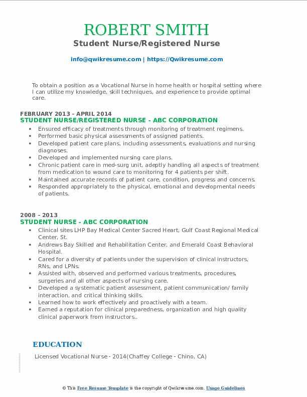 Student Nurse/Registered Nurse Resume Template