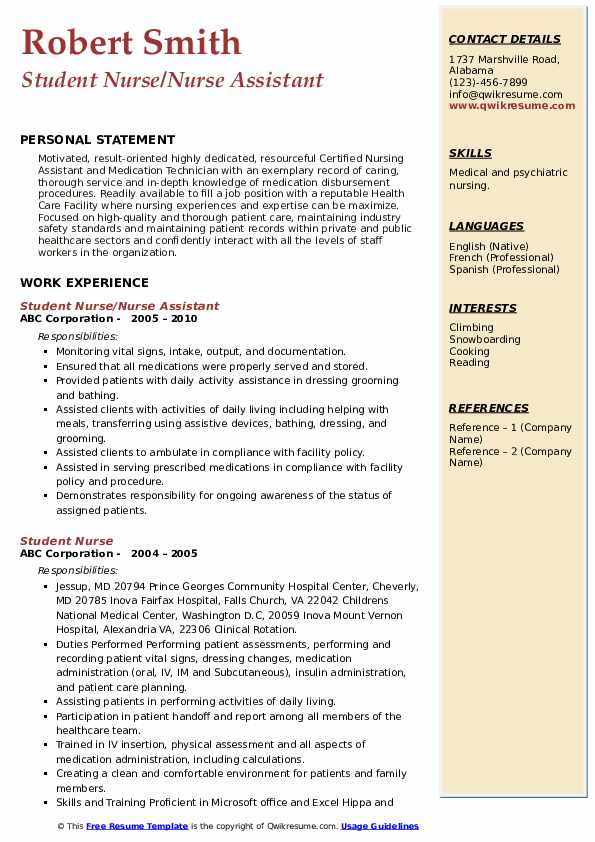 Student Nurse/Nurse Assistant Resume Model