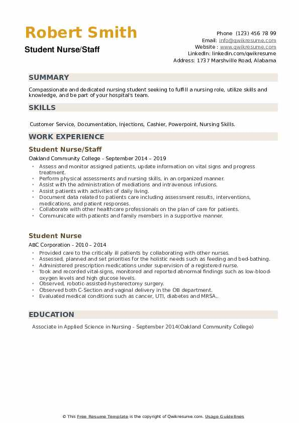 Student Nurse/Staff Resume Template