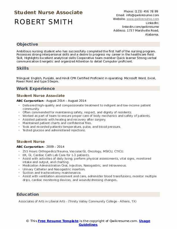 Student Nurse Associate Resume Sample