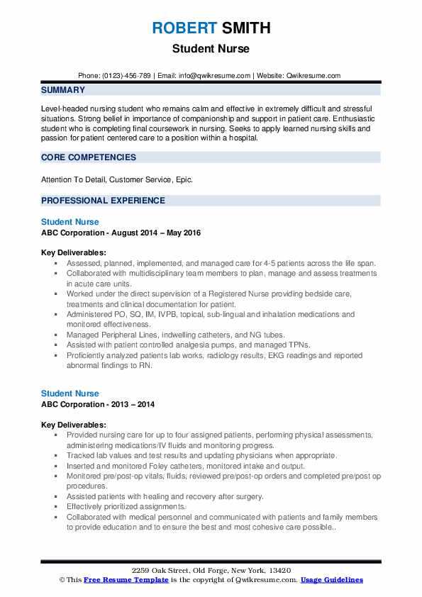 Student Nurse Resume Samples Qwikresume