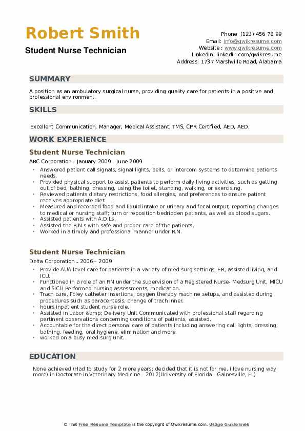 Student Nurse Technician Resume example