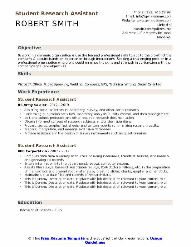 Student Research Assistant Resume example