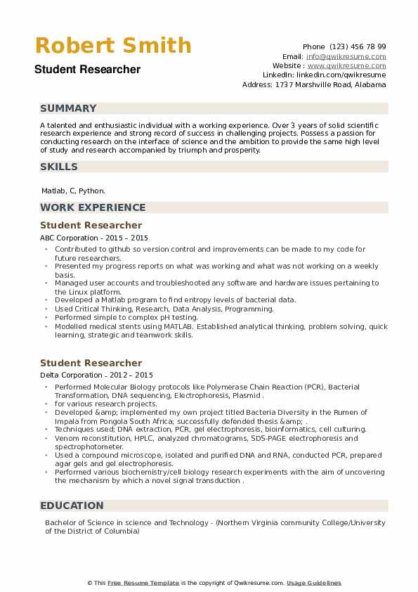 Student Researcher Resume example