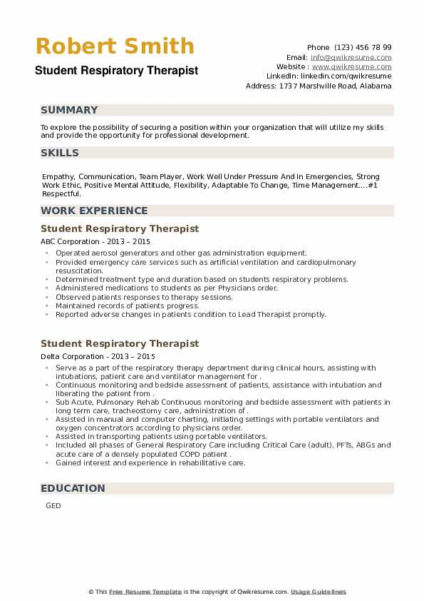 Student Respiratory Therapist Resume example