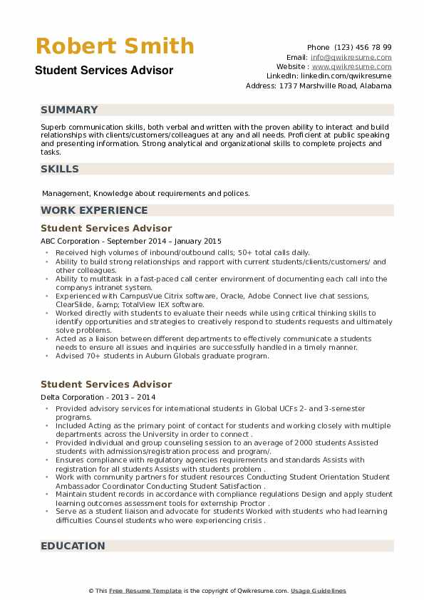 Student Services Advisor Resume example