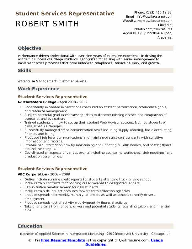 Student Services Representative Resume Samples Qwikresume