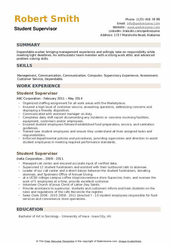 Student Supervisor Resume example