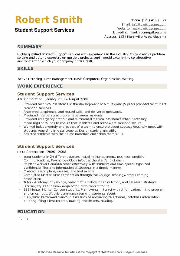 Student Support Services Resume example