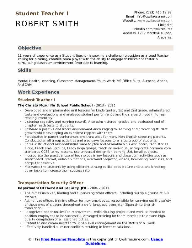 student teacher resume samples
