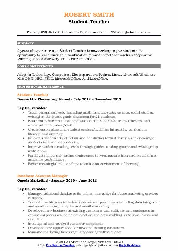 Student Teacher Resume Model