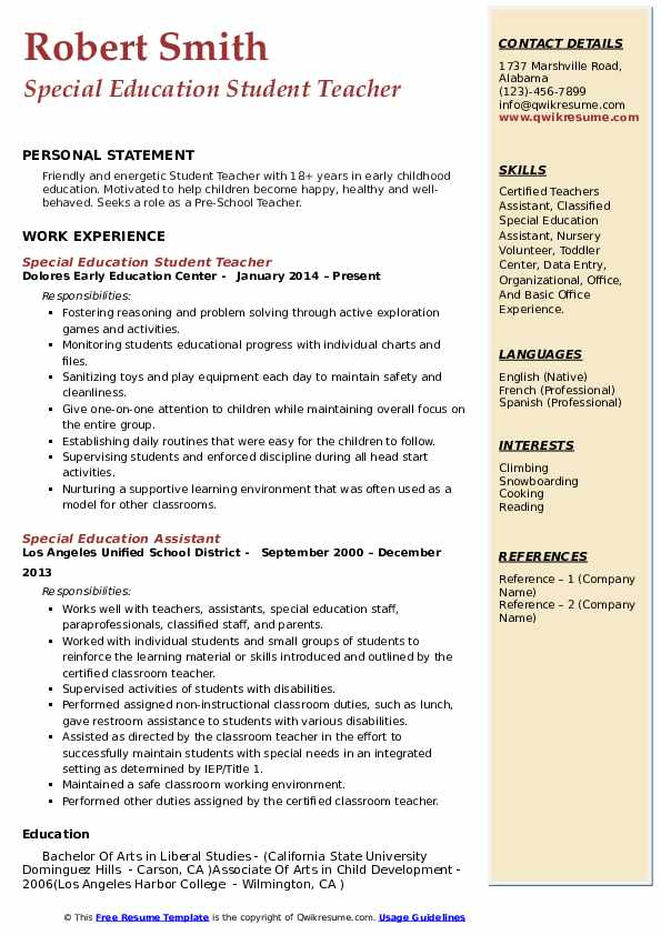 Special Education Student Teacher Resume Example