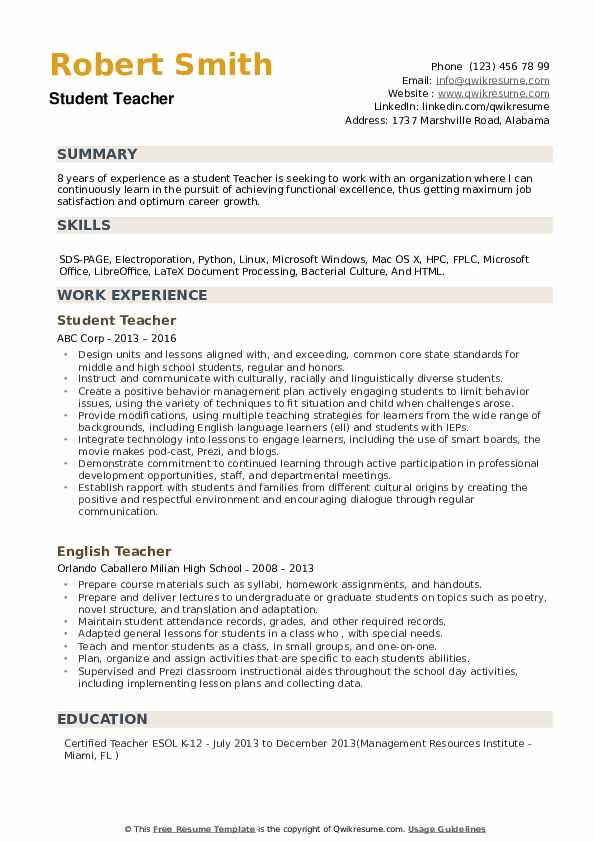 Student Teacher Resume Samples Qwikresume