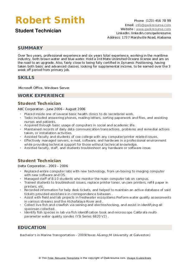 Student Technician Resume example