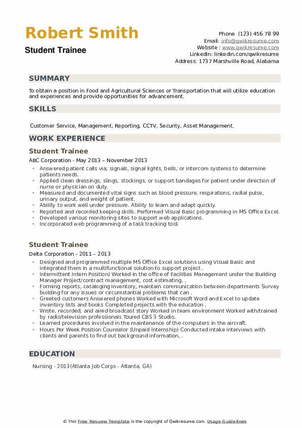 Student Trainee Resume example