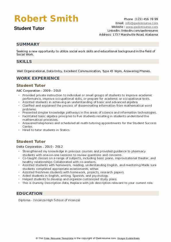 Student Tutor Resume example