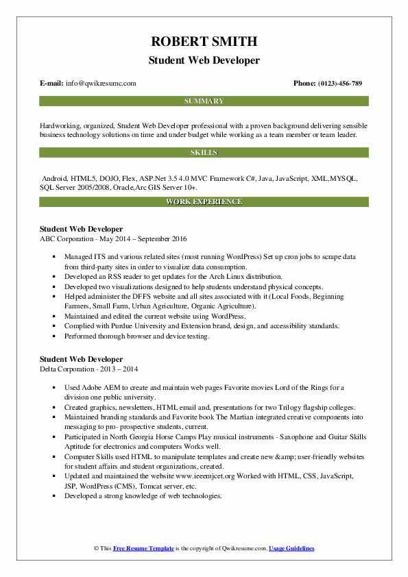 student web developer resume samples  qwikresume