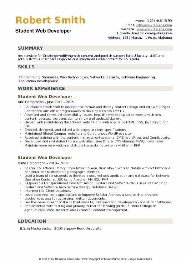 Student Web Developer Resume example