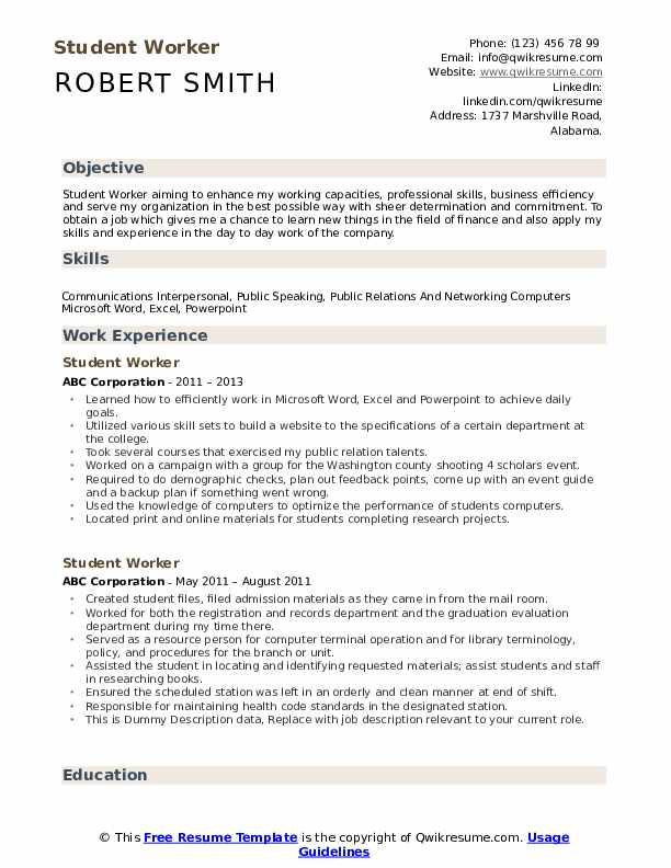 Student Worker Resume Samples Qwikresume