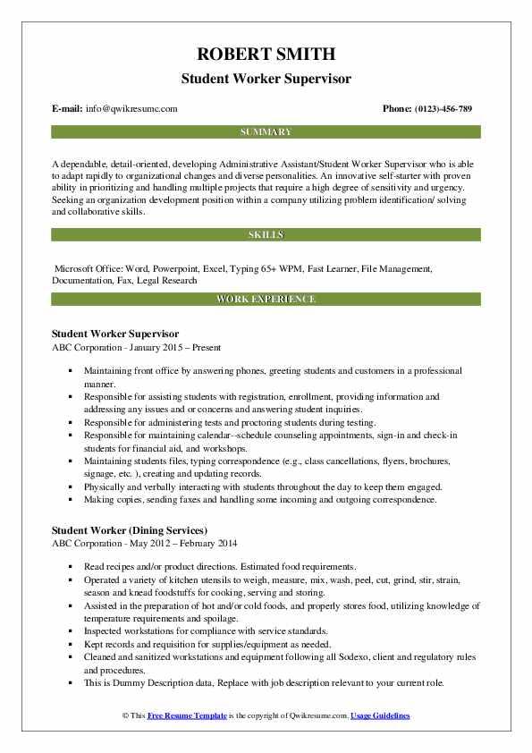 Student Worker Supervisor Resume Sample