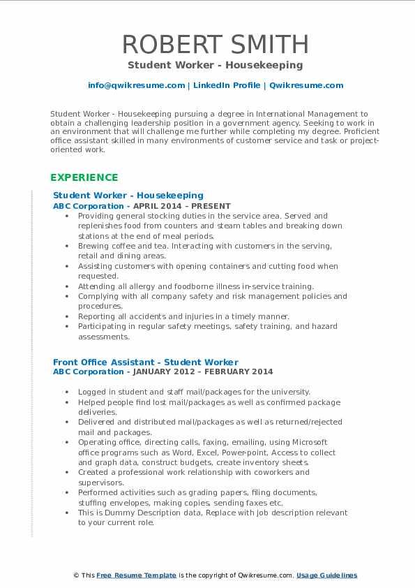 Student Worker - Housekeeping Resume Format