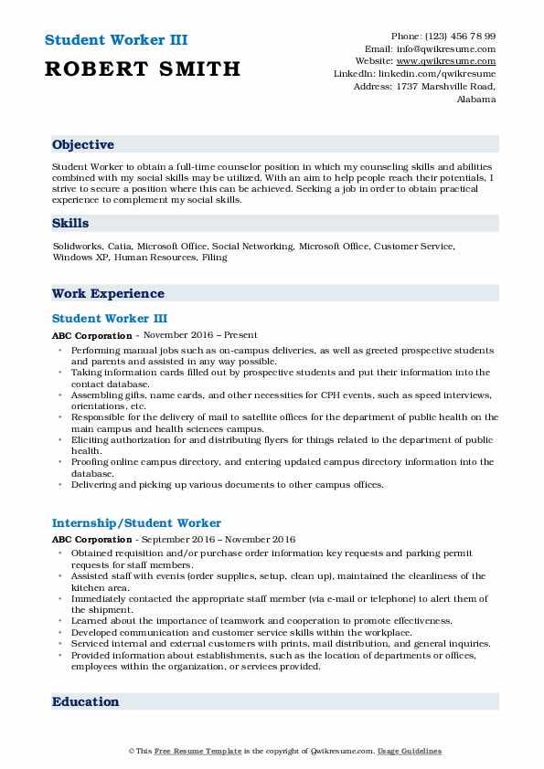 Student Worker III Resume Format