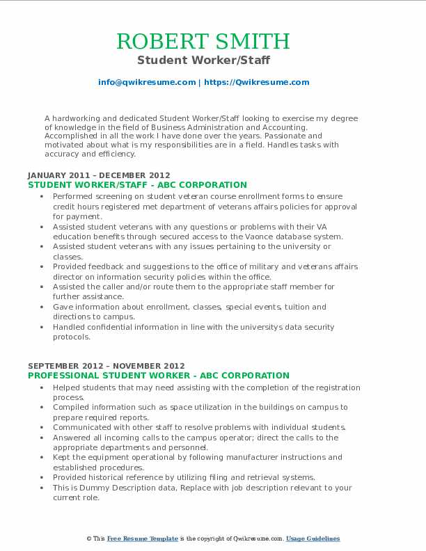 Student Worker/Staff Resume Format