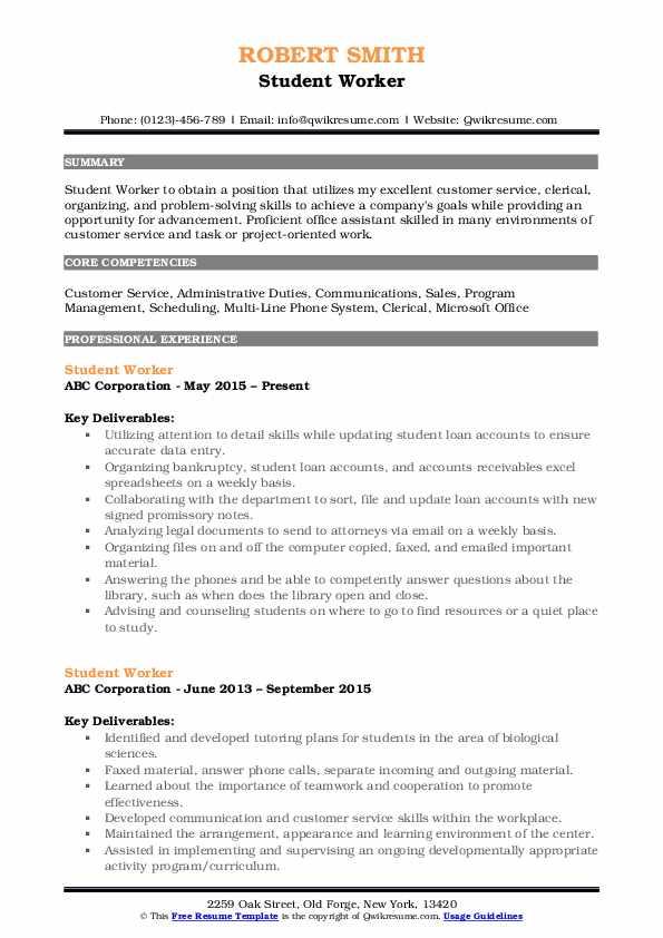 Student Worker Resume Format