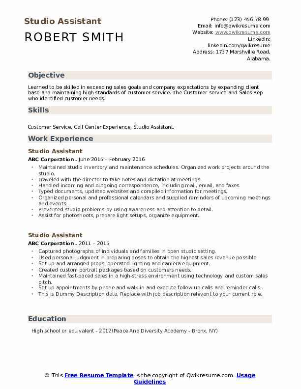 Studio Assistant Resume example