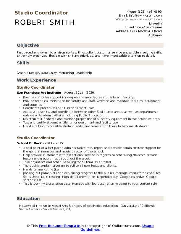 Studio Coordinator Resume example