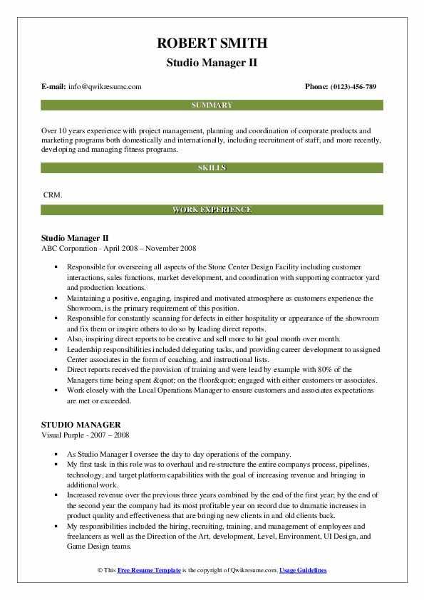 Studio Manager II Resume Sample