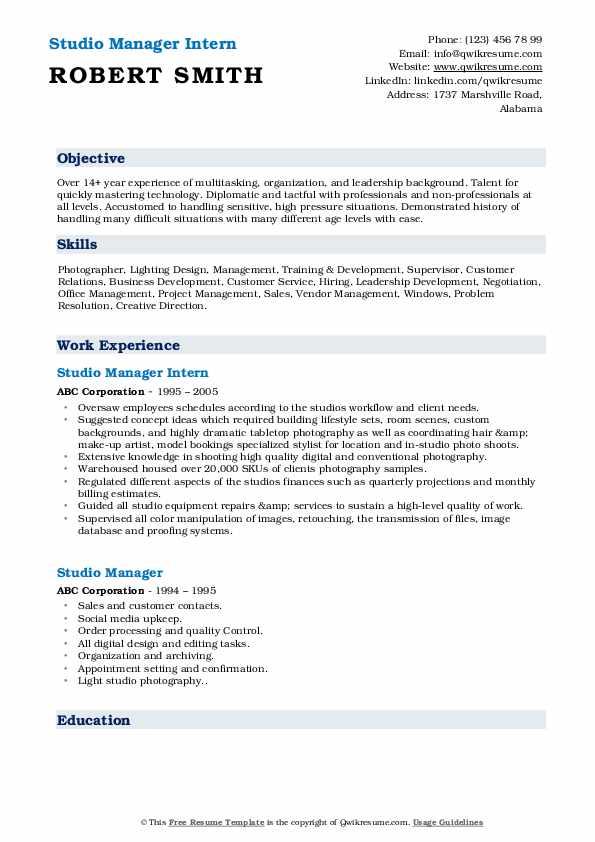 Studio Manager Intern Resume Sample