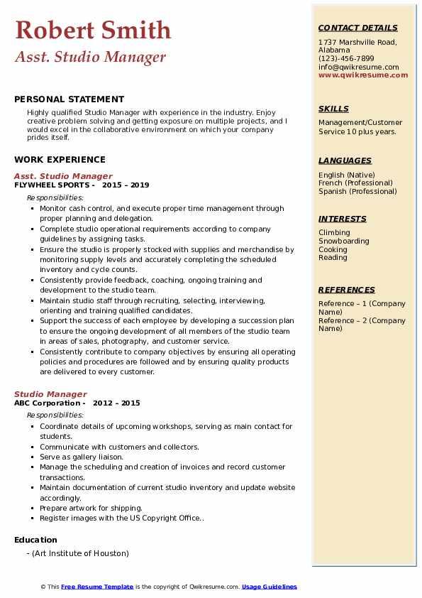 Asst. Studio Manager Resume Template