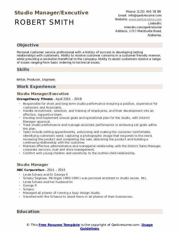 Studio Manager/Executive Resume Template