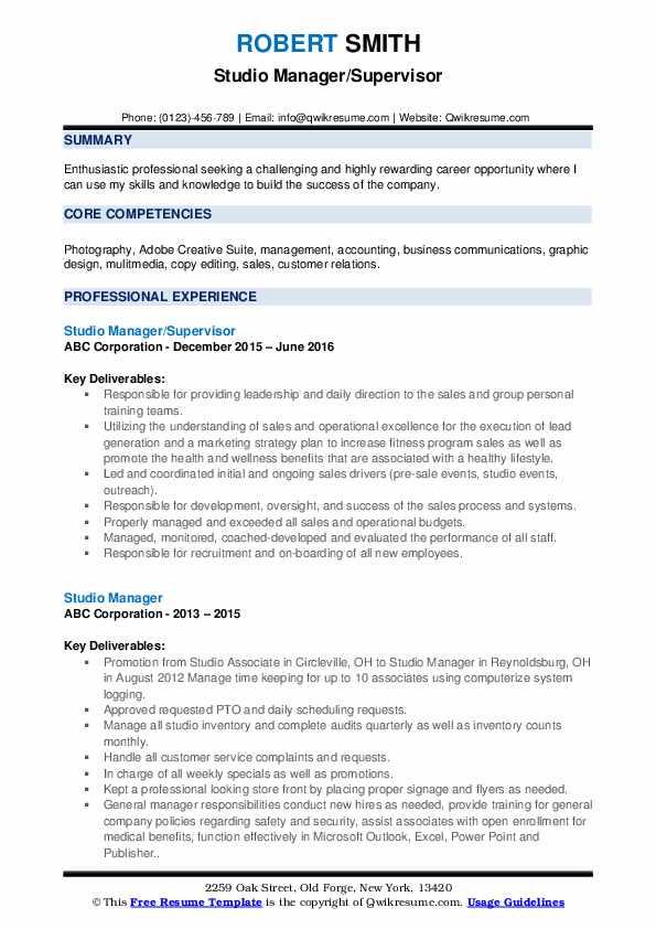 Studio Manager/Supervisor Resume Format
