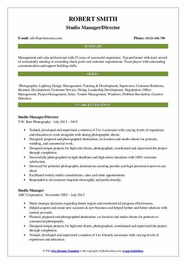 Studio Manager/Director Resume Sample