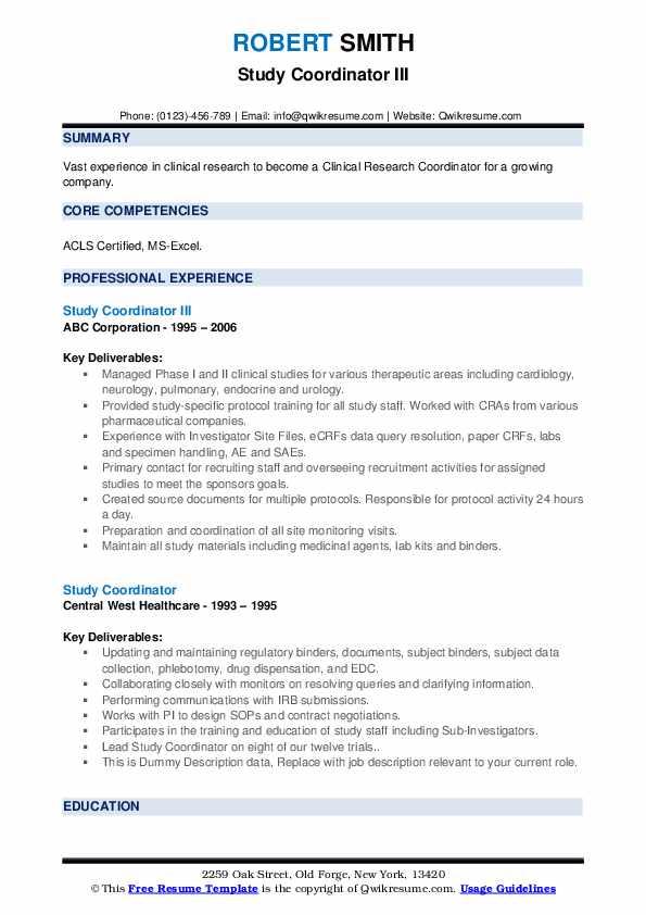 Study Coordinator Resume example