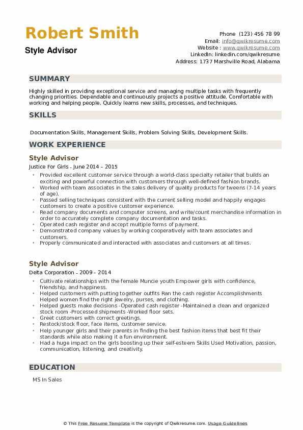Style Advisor Resume example