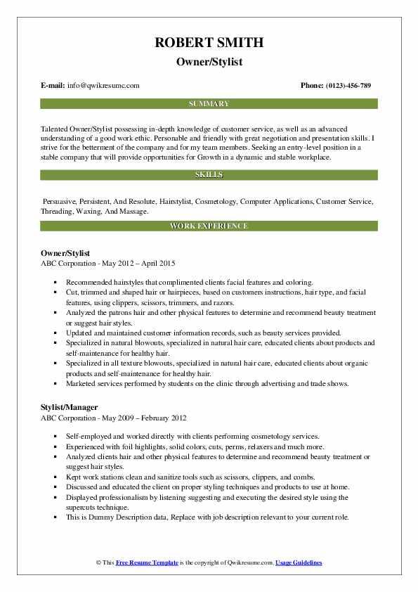 Owner/Stylist Resume Sample