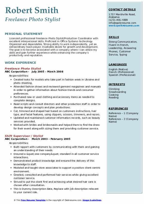 Freelance Photo Stylist Resume Model