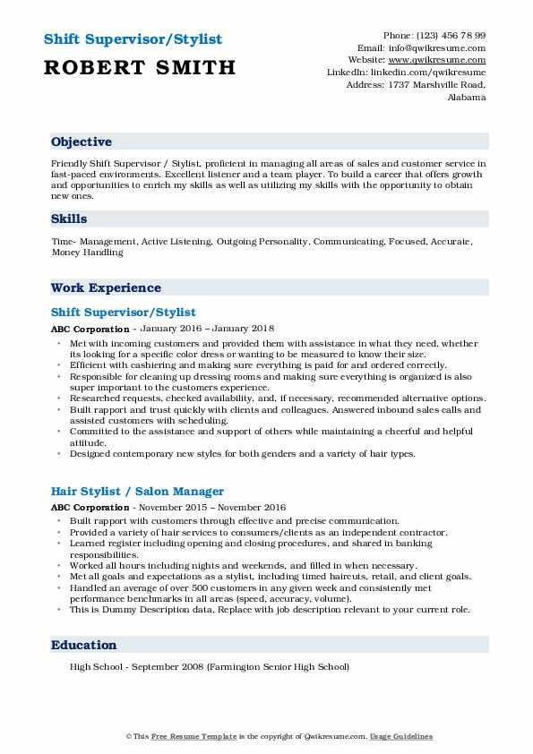 Shift Supervisor/Stylist Resume Sample