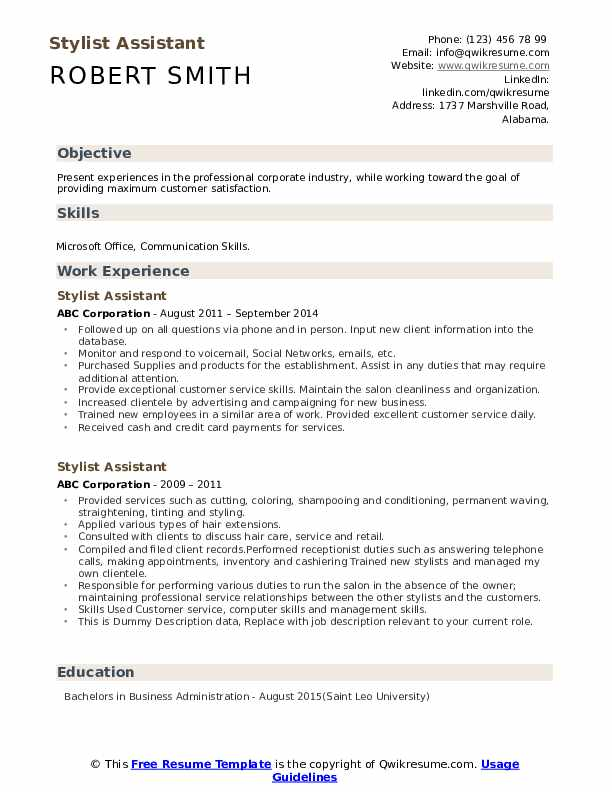 Stylist Assistant Resume example