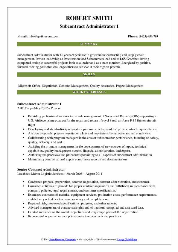 Subcontract Administrator Resume Samples Qwikresume