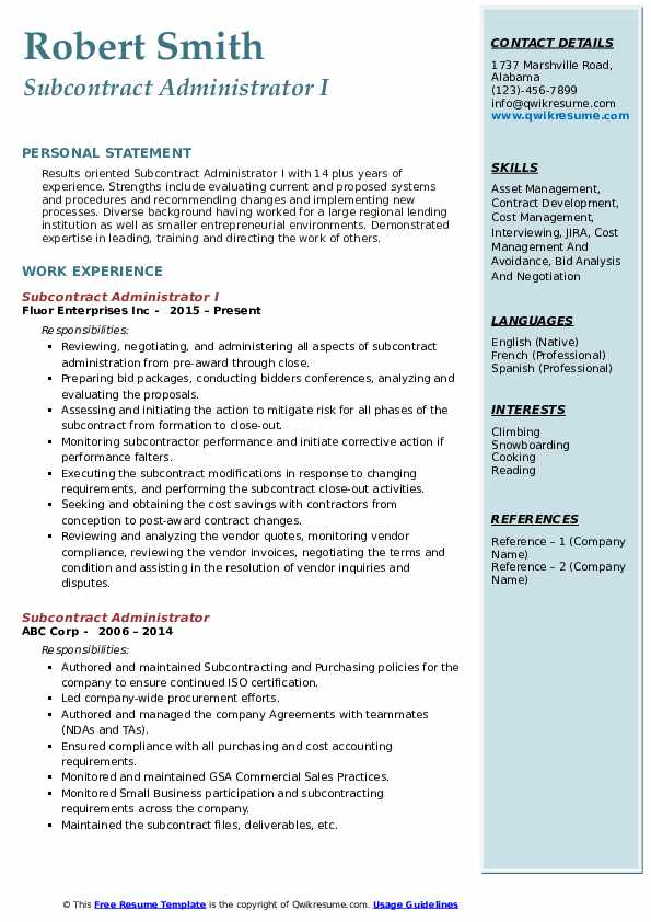 Subcontract Administrator I Resume Template