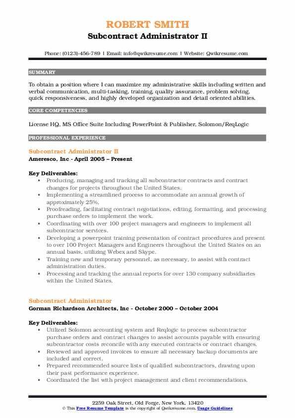 Subcontract Administrator II Resume Template