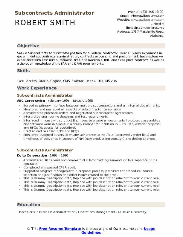 subcontracts administrator resume samples  qwikresume