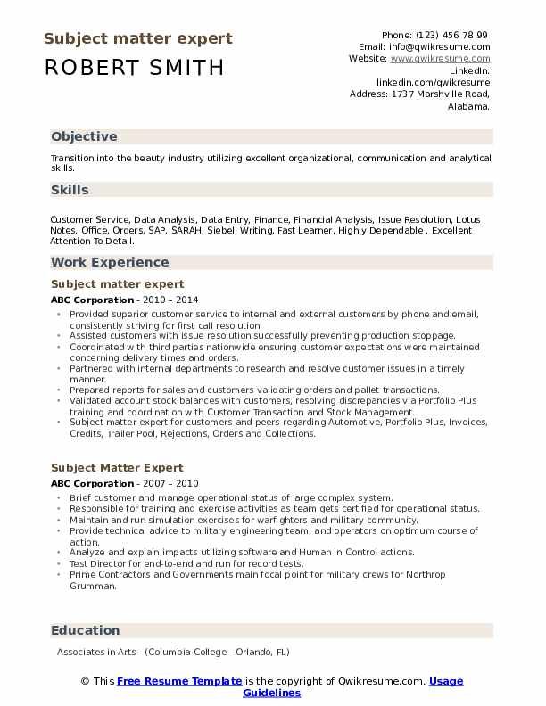Subject matter expert Resume Format