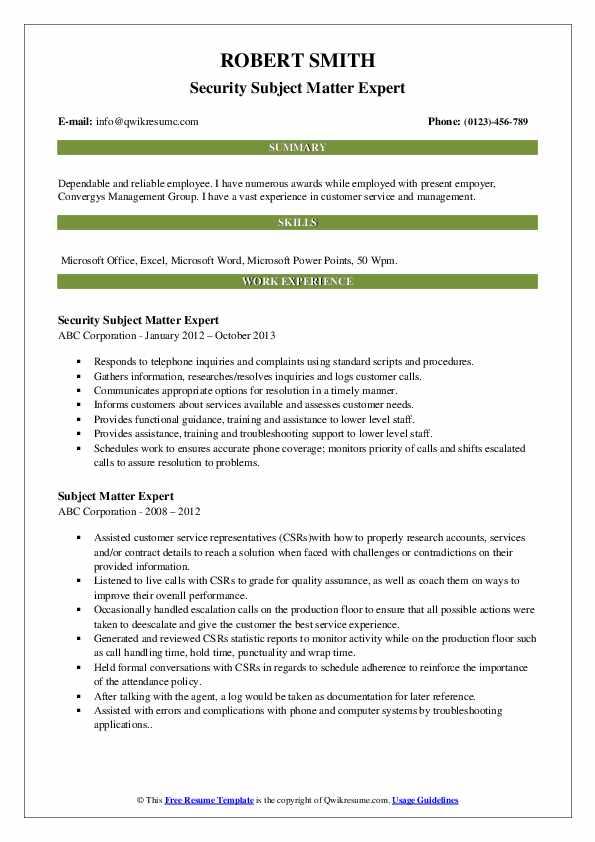 Security Subject Matter Expert Resume Template